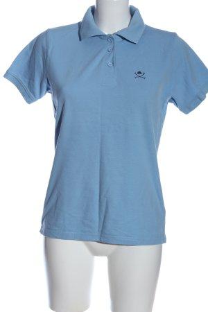 Polo Club Polo-Shirt blau Schriftzug gestickt schlichter Stil