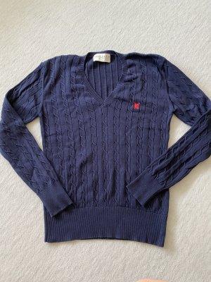 Polo Club Warkoczowy sweter ciemnoniebieski