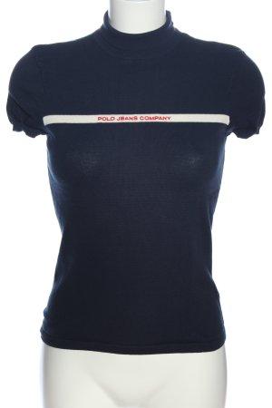 Polo Jeans Co. Ralph Lauren Top con colletto arrotolato blu-bianco stile casual