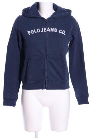 Polo Jeans Co. Ralph Lauren Sweatjacke blau-weiß Schriftzug gedruckt