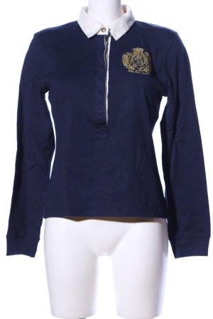 Polo Jeans Co. Ralph Lauren Polo-Shirt blau-weiß Schriftzug gestickt
