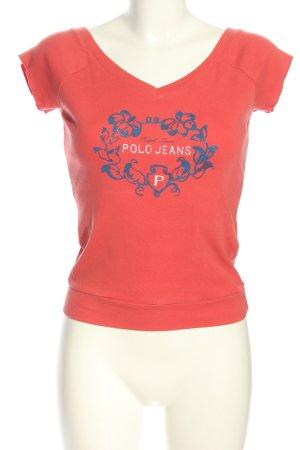 Polo Jeans Company Print-Shirt rot-blau Schriftzug gedruckt Casual-Look