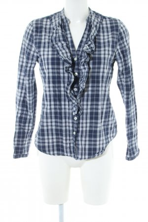 Polo Jeans Rüschen-Bluse blau-weiß Karomuster Casual-Look