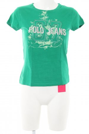 Polo Jeans T-Shirt grün Motivdruck Casual-Look