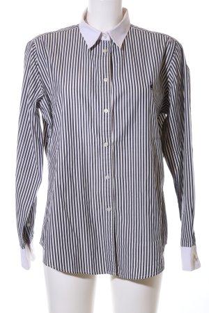 Polo Langarmhemd schwarz-weiß Streifenmuster Business-Look