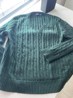 Polo Ralph Lauren Warkoczowy sweter ciemnozielony