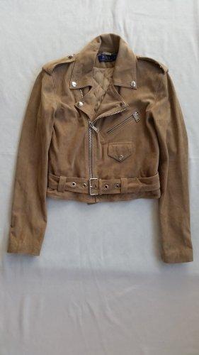 Polo Ralph Lauren, Biker Jacket, Veloursleder, sand, 34 (US 4), neu, € 1.000,-