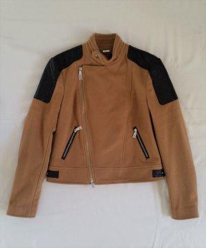 Polo Ralph Lauren, Bikerjacke, 32 (US 2), Virgin Wool/Nylon, Leder, camel/schwarz, neu, € 1.500,-