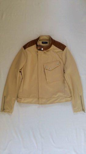 Polo Ralph Lauren, Bikerjacke, M, Polyester-Elasthan / Leder, sand/cognac, neu, € 390,-