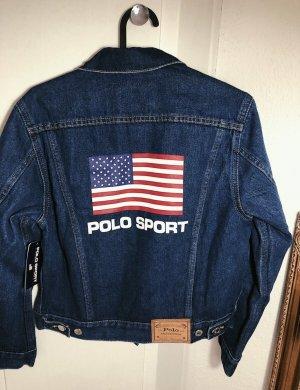 Polo Ralph Lauren blaue Jeansjacke Logo Flagge vintage retro 90s