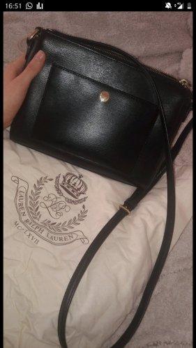 Polo Ralph Lauren Handtasche / Umhängetasche schwarz aus Leder mit gold