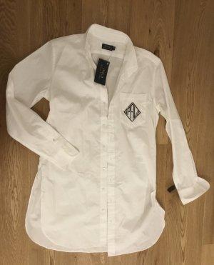 Polo Ralph Lauren Long Blouse white-dark blue cotton