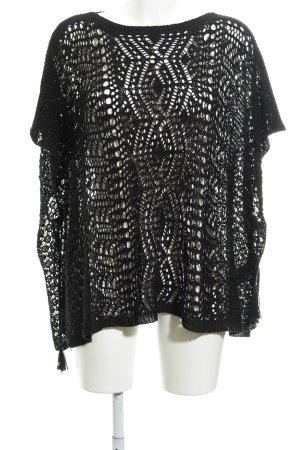 Polo Ralph Lauren Kimono sweater zwart abstract patroon gelaagde uitstraling
