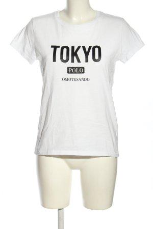 Polo Ralph Lauren Kurzarm-Bluse weiß Schriftzug gedruckt Casual-Look