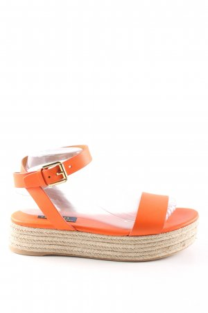 Polo Ralph Lauren Plateauzool sandalen licht Oranje kabel steek