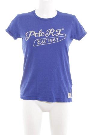 Polo Ralph Lauren Print-Shirt blau-wollweiß Schriftzug gedruckt Casual-Look
