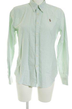 Polo Ralph Lauren Rüschen-Bluse weiß-hellgrün Streifenmuster Casual-Look