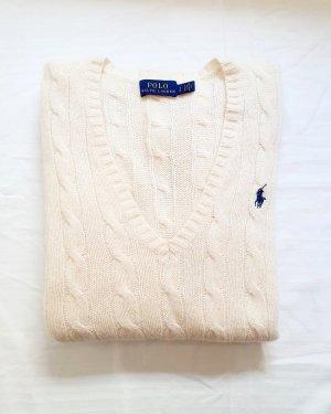 Polo Ralph Lauren Strickpullover Zopfmuster Kaschmir Cashmere Wolle creme beige S original neuwertig