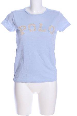 Polo Ralph Lauren T-Shirt blau-hellgrau Schriftzug gestickt Casual-Look