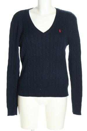 Polo Ralph Lauren V-Ausschnitt-Pullover blau Zopfmuster Business-Look