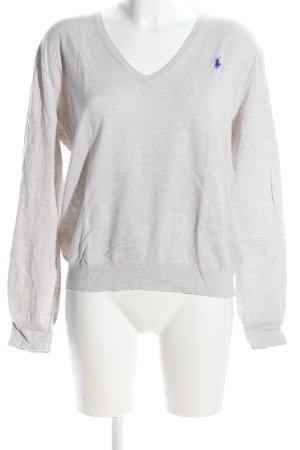 Polo Ralph Lauren V-Ausschnitt-Pullover hellgrau Schriftzug gestickt Casual-Look