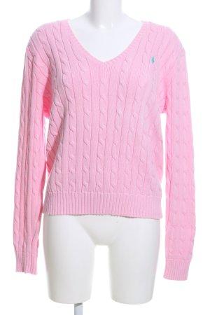 Polo Ralph Lauren V-Ausschnitt-Pullover pink Schriftzug gestickt Casual-Look