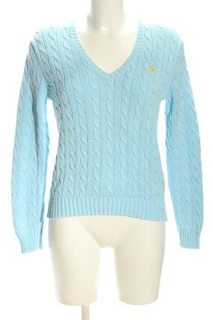 Polo Ralph Lauren V-Ausschnitt-Pullover blau Zopfmuster Casual-Look