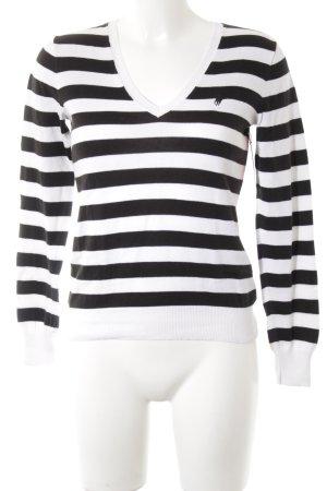 Polo Ralph Lauren V-Ausschnitt-Pullover schwarz-weiß Streifenmuster Casual-Look