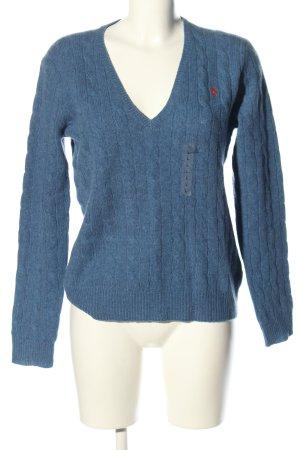 Polo Ralph Lauren Pull en laine bleu lettrage brodé style décontracté