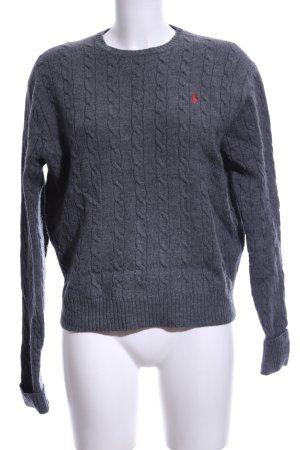 Polo Ralph Lauren Pull en laine gris clair torsades style décontracté