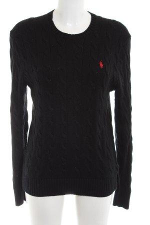 Polo Ralph Lauren Zopfpullover schwarz Zopfmuster Casual-Look