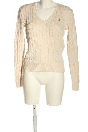 Polo Ralph Lauren Jersey trenzado crema punto trenzado look casual