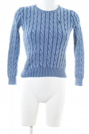 Polo Ralph Lauren Zopfpullover blau Zopfmuster Business-Look