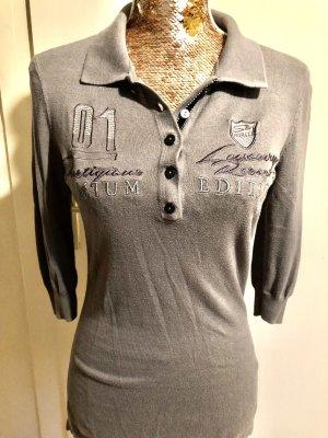 Sweter z krótkim rękawem szary-srebrny
