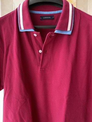 Cortefiel Polo Shirt raspberry-red-azure cotton