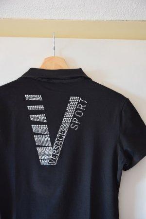 Versace Sport Koszulka polo czarny-srebrny Bawełna
