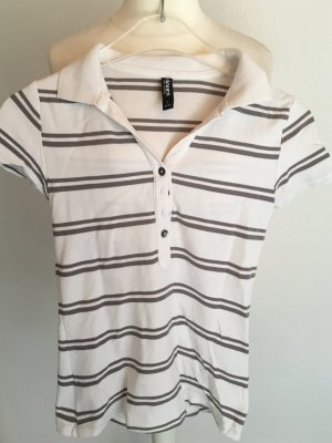 Polo Shirt T-Shirt gestreift Basic weiß grau Gr. S