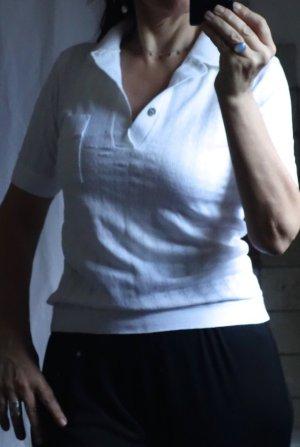 Polo Shirt von Huber Fashion style 3 swiss 5, hochwertige Qualität aus fester Baumwolle, Kragen, durchbrochenes Muster, Strick, sehr angenehm, klassischer Schnitt, reinweiß, weiß, Kurzarm, TOP Zustand, Gr. S/M