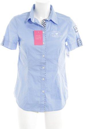 Polo sylt Kurzarm-Bluse blau Schriftzug gedruckt Casual-Look