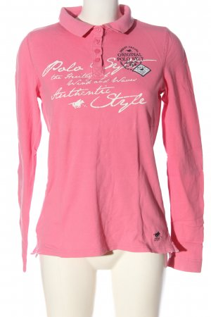Polo sylt Long Sleeve Blouse pink-white printed lettering casual look