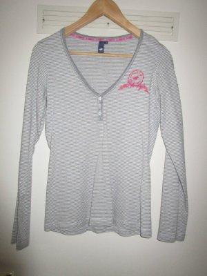 Polo sylt T-shirt rayé gris clair-blanc