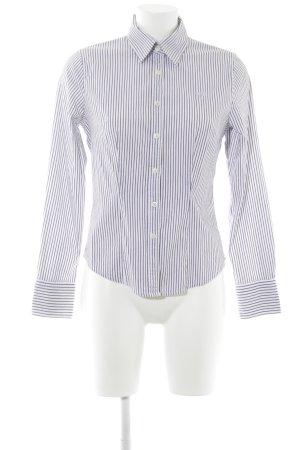 Polo sylt Langarmhemd weiß-graulila Streifenmuster Casual-Look
