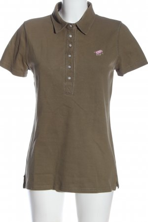 Polo sylt Polo Shirt brown embroidered lettering casual look