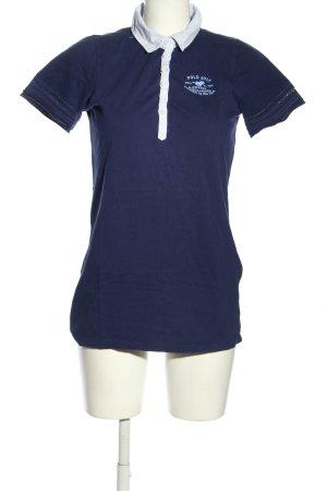 Polo sylt Polo-Shirt blau-weiß Motivdruck Casual-Look