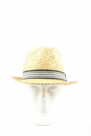 Polo sylt Straw Hat cream-black striped pattern casual look