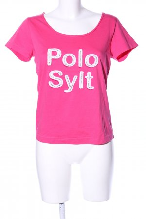 Polo sylt T-Shirt pink printed lettering casual look