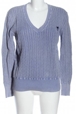 Polo sylt V-Neck Sweater blue cable stitch casual look