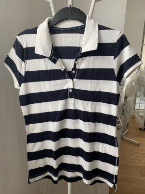 H&M Camiseta tipo polo blanco-azul oscuro