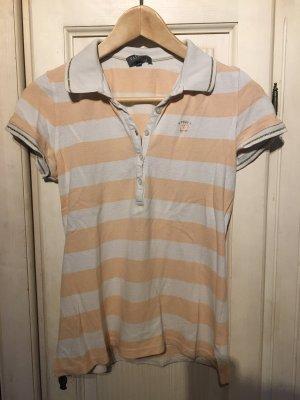 Polo shirt wit-abrikoos