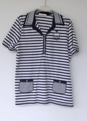 Poloshirt blau-weiß gestreift, avantgarde, Kurzarm, Größe 46